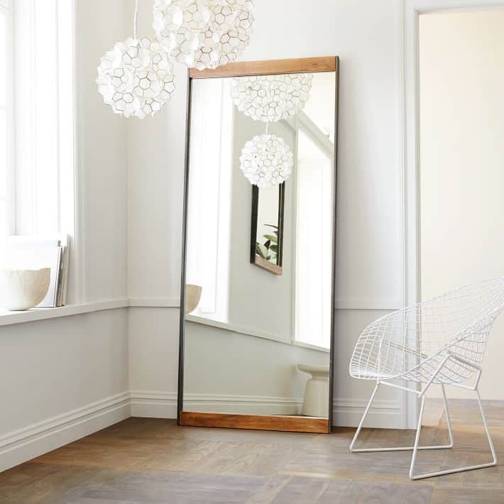 love this industrial wood and metal mirror