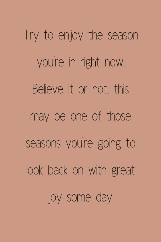 enjoy the season you are in right now