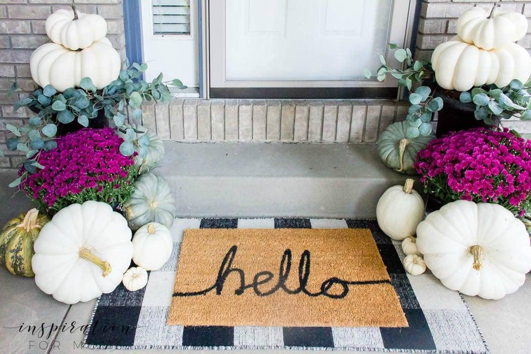 layered door mats - fall front porch