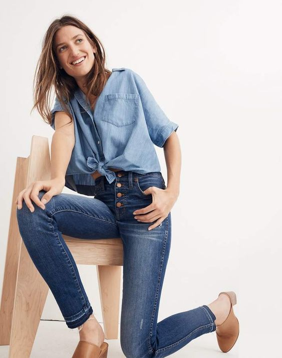 Love these madewell high rise skinny jeans. They keep everything tucked in the right place!