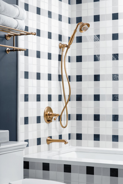 plaid bathroom tile - affordable decor pieces