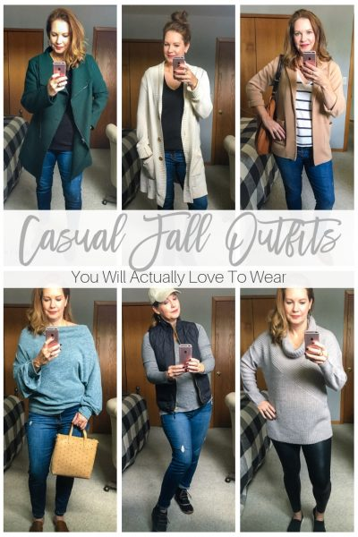 Discover six casual fall outfits you'll actually love to wear. Great inspiration for dressing the busy mom on the go!