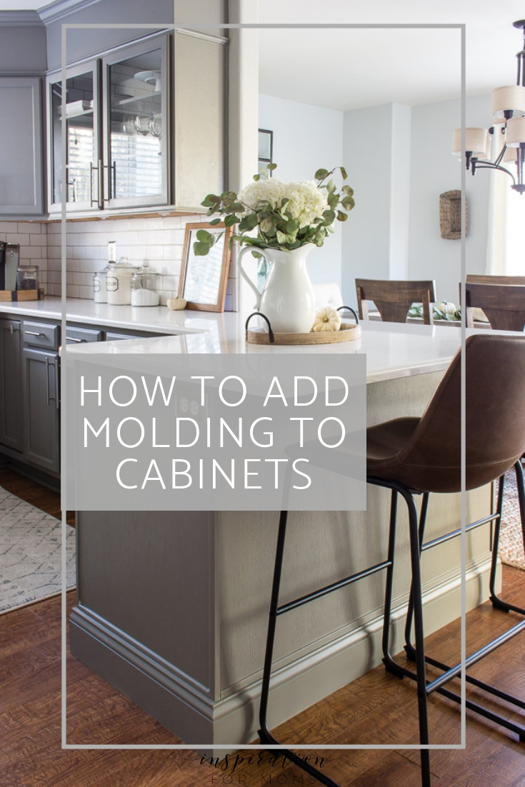 Want to dress up your cabinets and achieve a professional looking kitchen? This easy tutorial explains how to add molding to cabinets for an instant update!