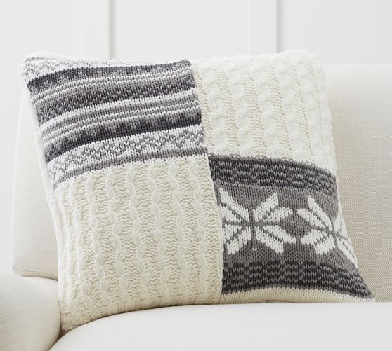 sweater patchwork pillow - so cute for the couch in the winter months!
