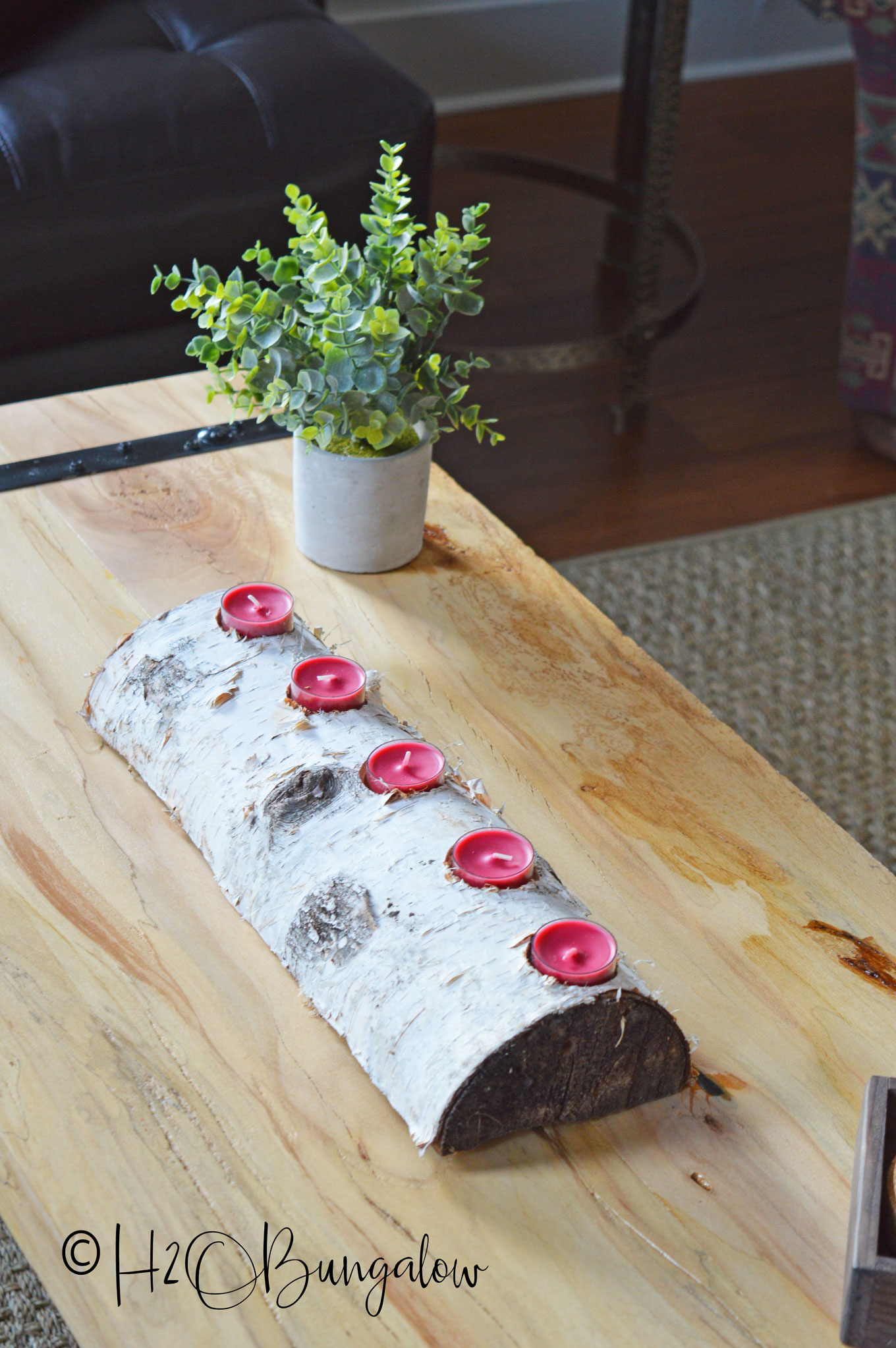 DIY Birch Log Candle Holder