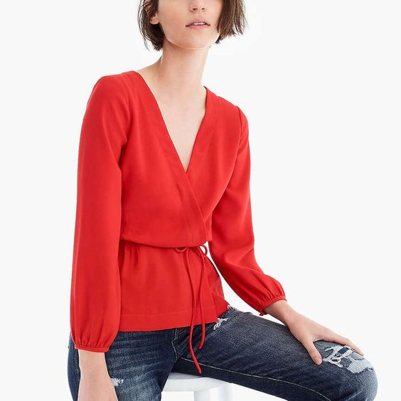 This drapey crepe faux-wrap top is perfect for fall layering!