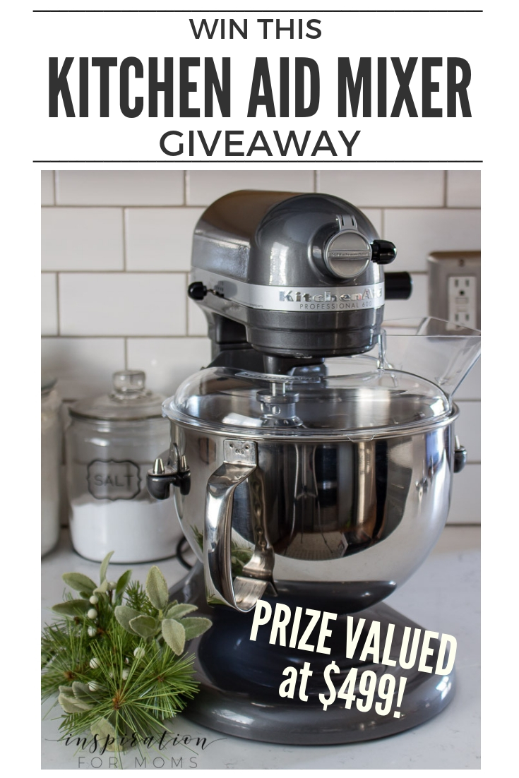Win this fabulous Kitchen Reveal giveaway and mix up a ton of sweet treats! Enter to win this Kitchen Aid Mixer by clicking here!