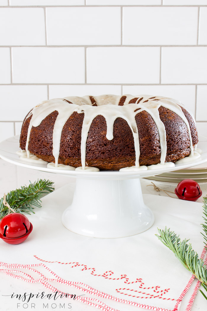 Gingerbread Bundt Cake with Eggnog Glaze