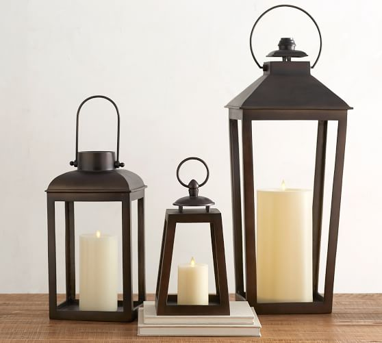 These bronze lanterns are great for outside or indoor home decor!