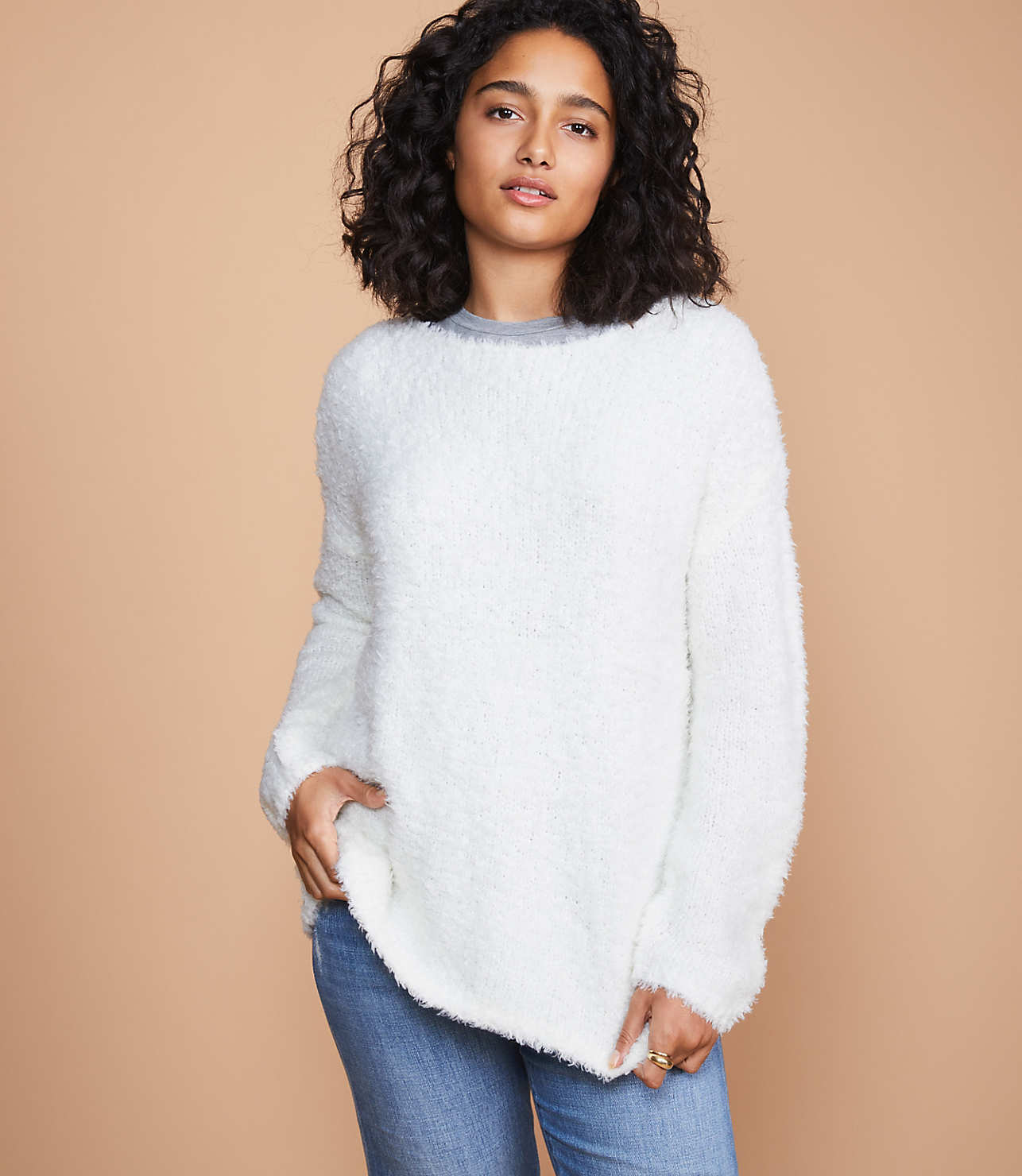 Love this woman fuzzy sweater - perfect for colder days!