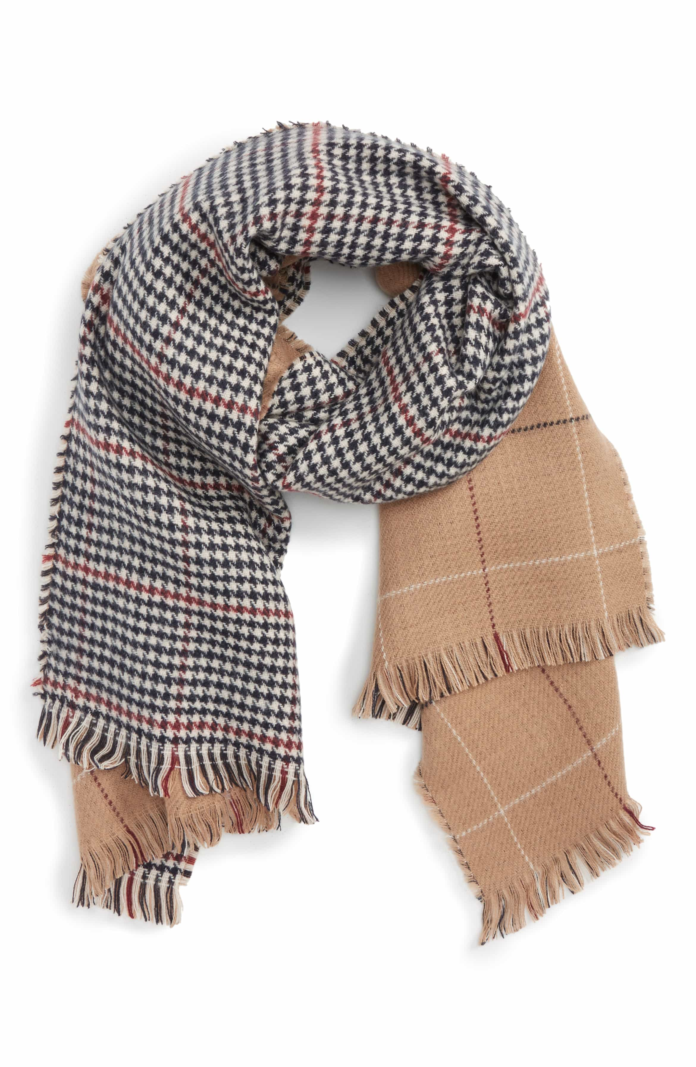 She will love this houndstooth and grid scarf!