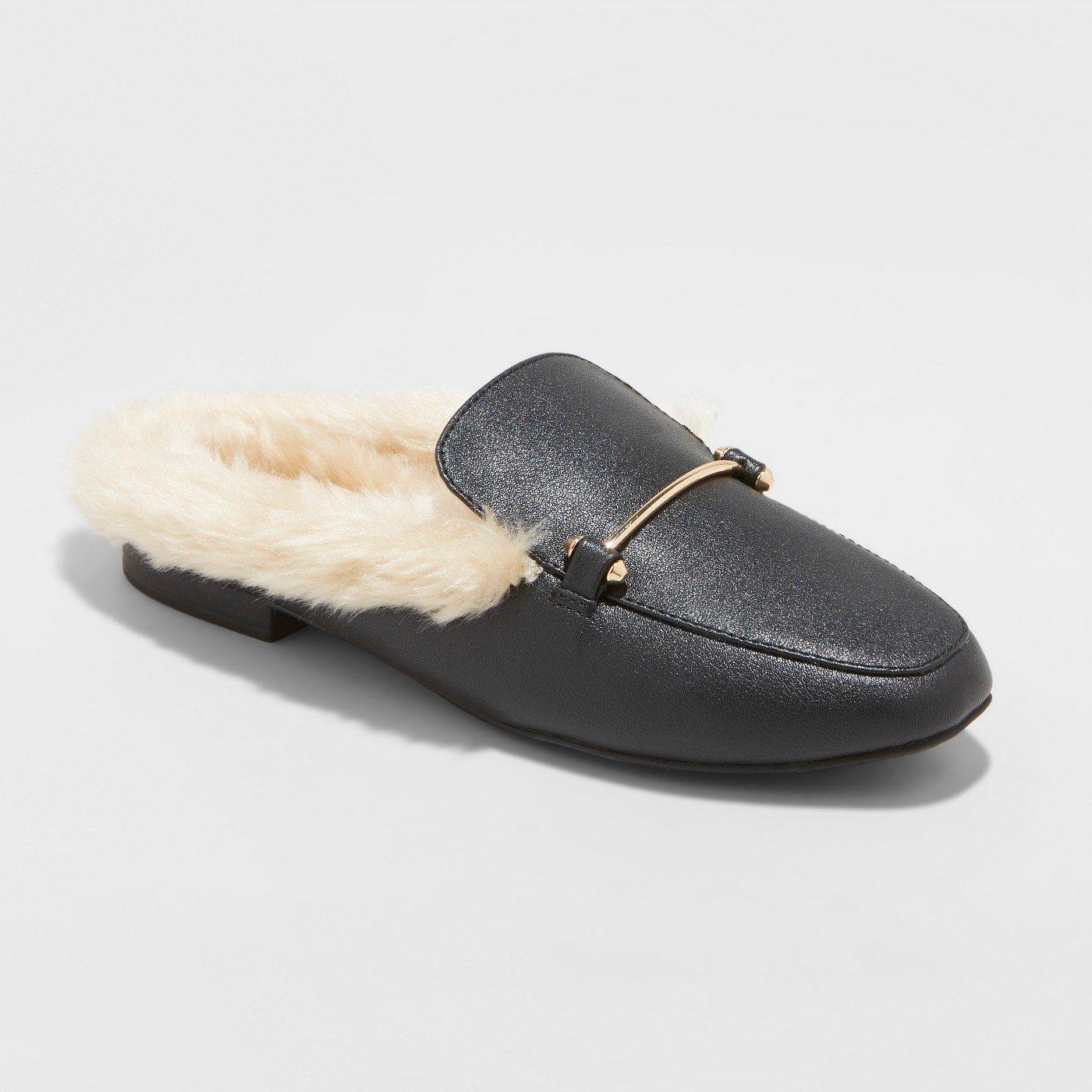 woman leather fur mule slides - so cute!