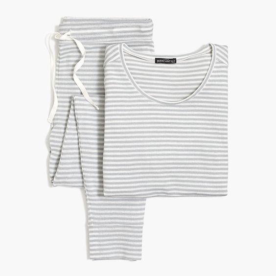 grey striped womens pajama set - great gift!