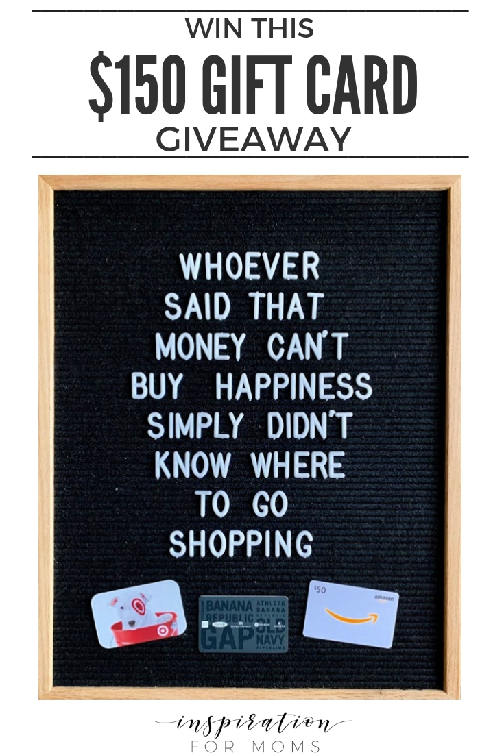 Win this fabulous $150 gift card giveaway and you can shop until you drop!