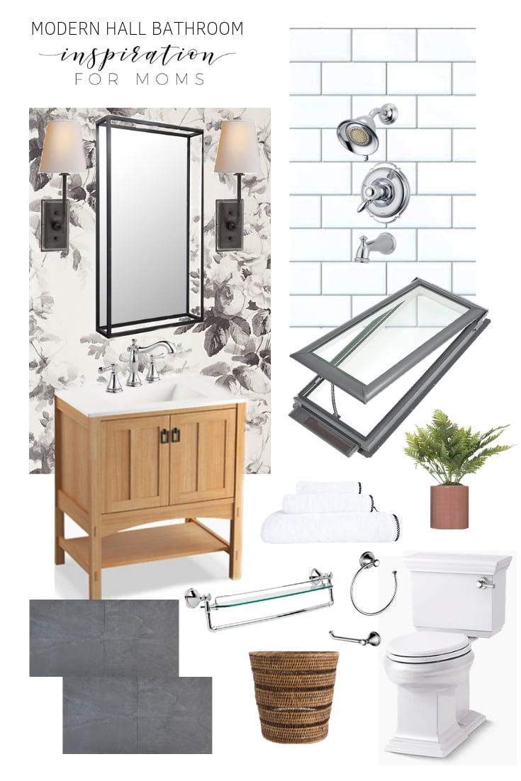 modern hall bathroom renovation mood board from inspiration for moms
