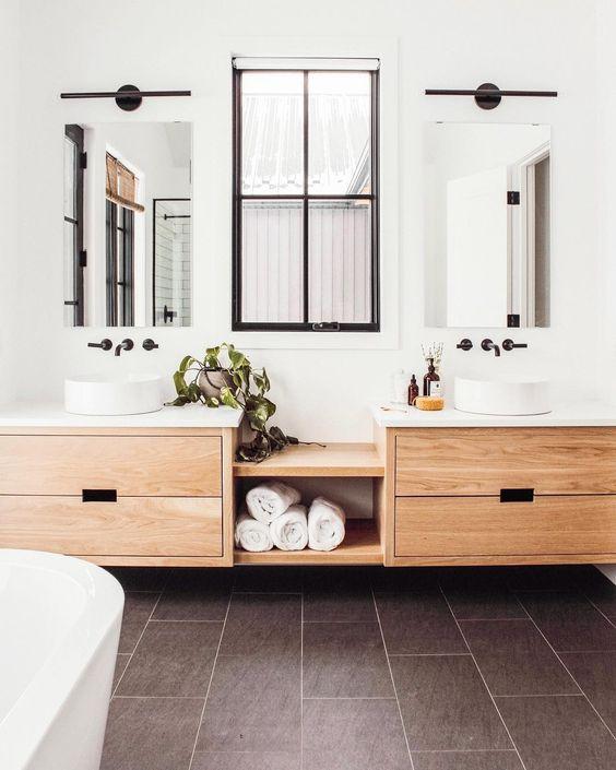 Bathroom with slate tile flooring