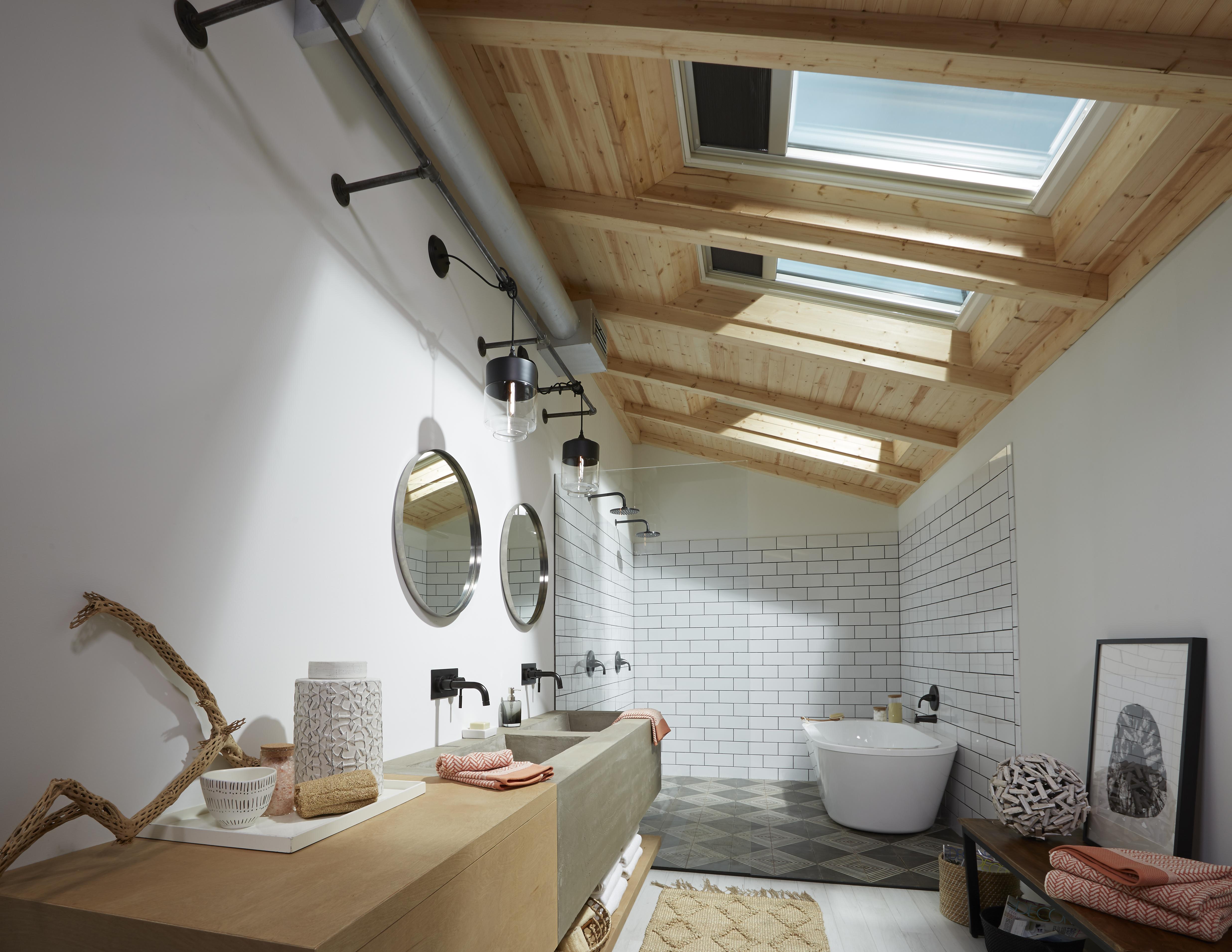 Bathroom with Velux skylights inspiration