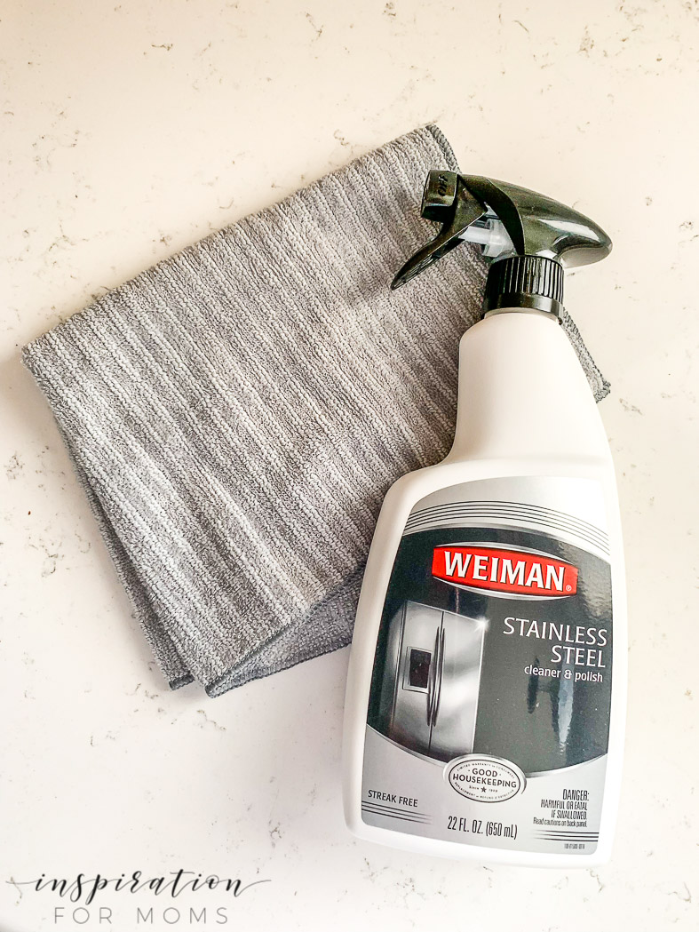 clean stainless steel appliances with weiman cleaner and microfiber cloth