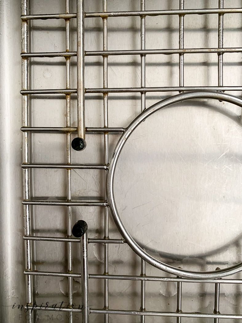 before and after of cleaning farmhouse sink metal grid