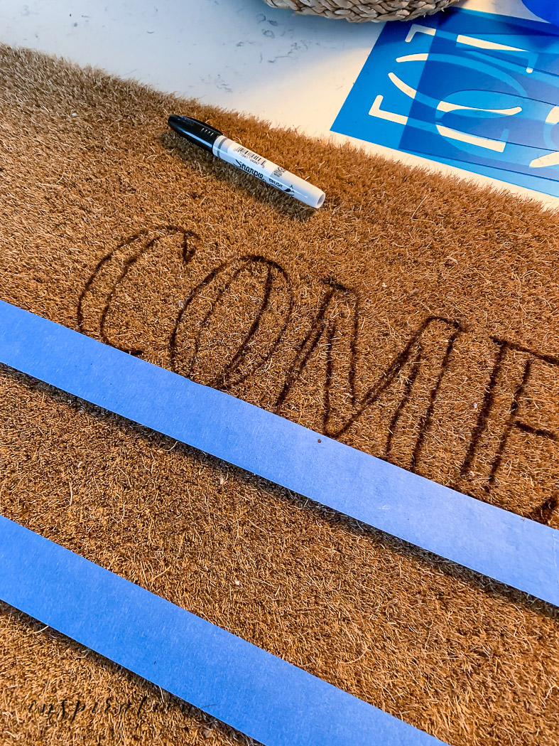 Easy painted doormat tutorial - first step stencil letters