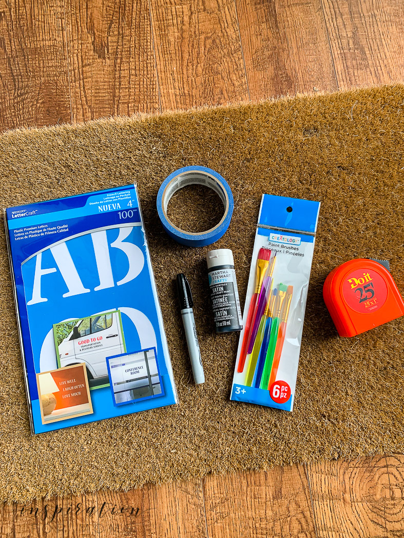 Easy painted doormat tutorial supplies you will need