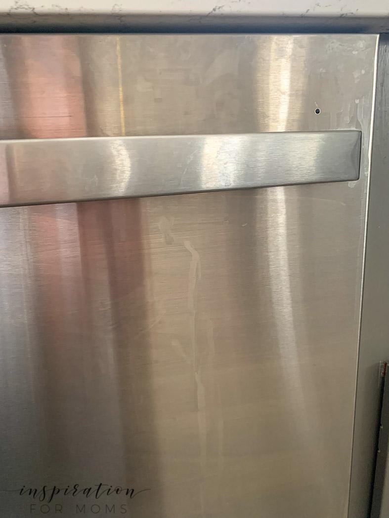 dirty kitchen stainless steel dishwasher