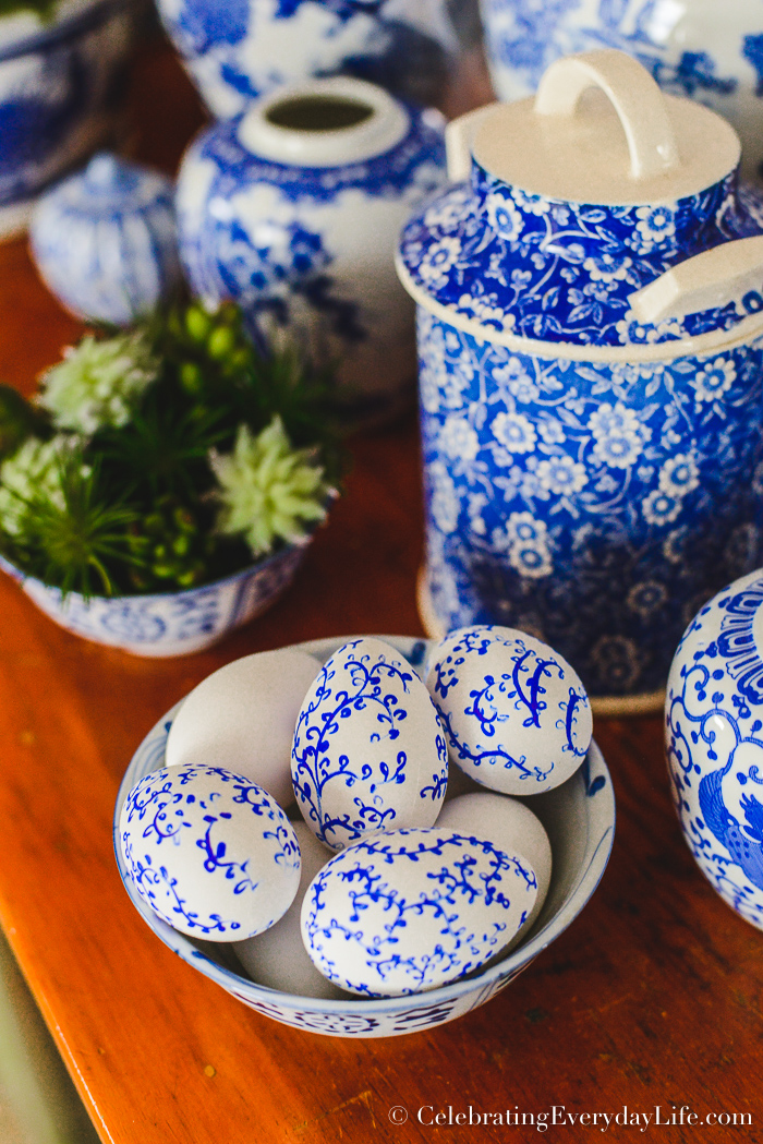 how to make easy chinoiserie Easter eggs