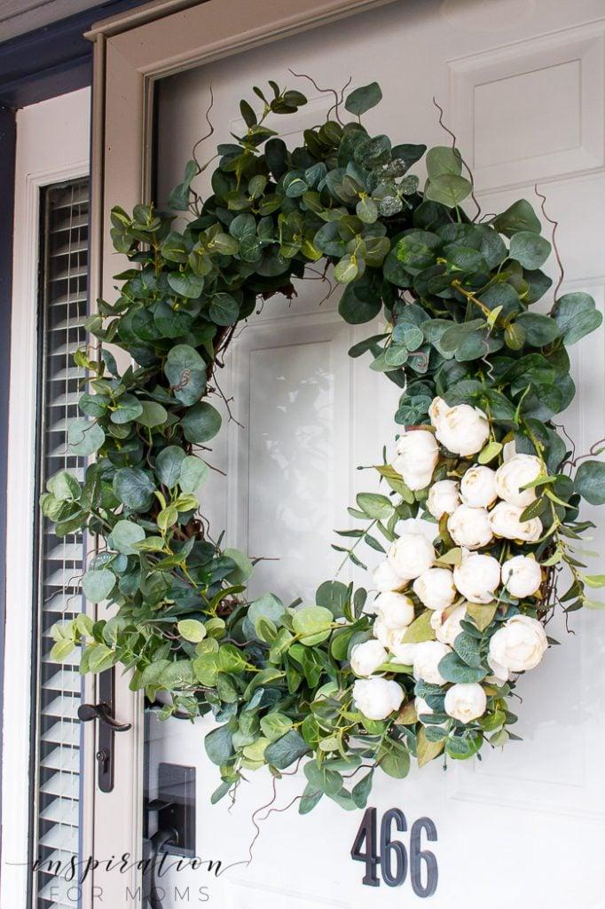 elegant peony eucalyptus spring wreath