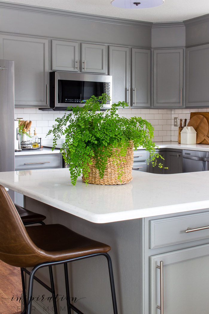 Decorating with hints of green is easy to do with the help of fresh flowers and pretty plants. maidenhair fern Quartz counters modern kitchen