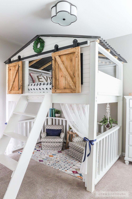 DIY sliding barn door bed loft
