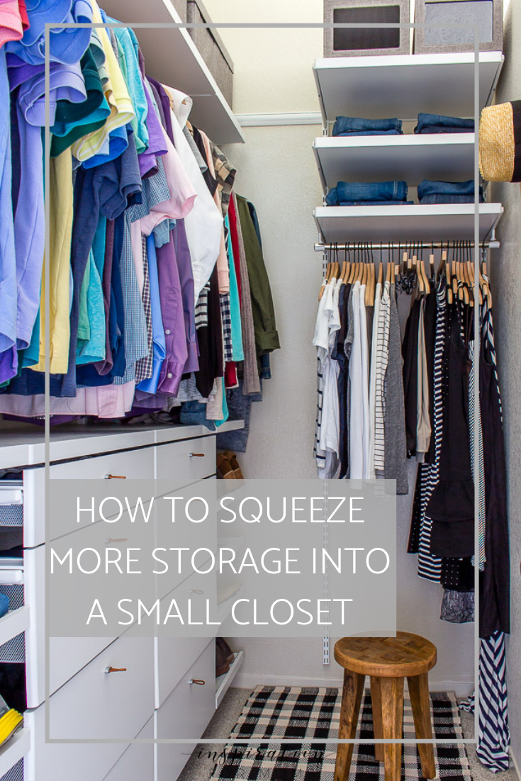 Frustrated with the lack of storage in your small closet? Squeeze in more items with my helpful tips and tricks on small closet organization. #smallclosetorganization