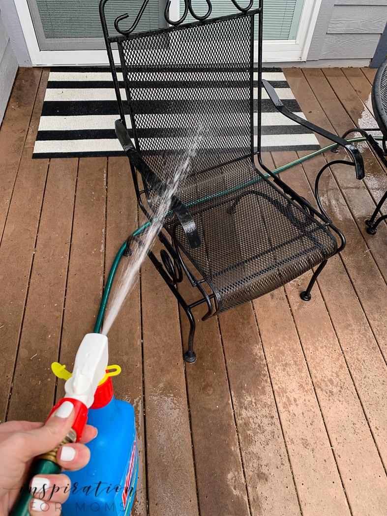 Warmer weather is here and the patio needs a big spring cleaning. Here's my step by step process with the best patio cleaner for getting the job done right! windex outdoor