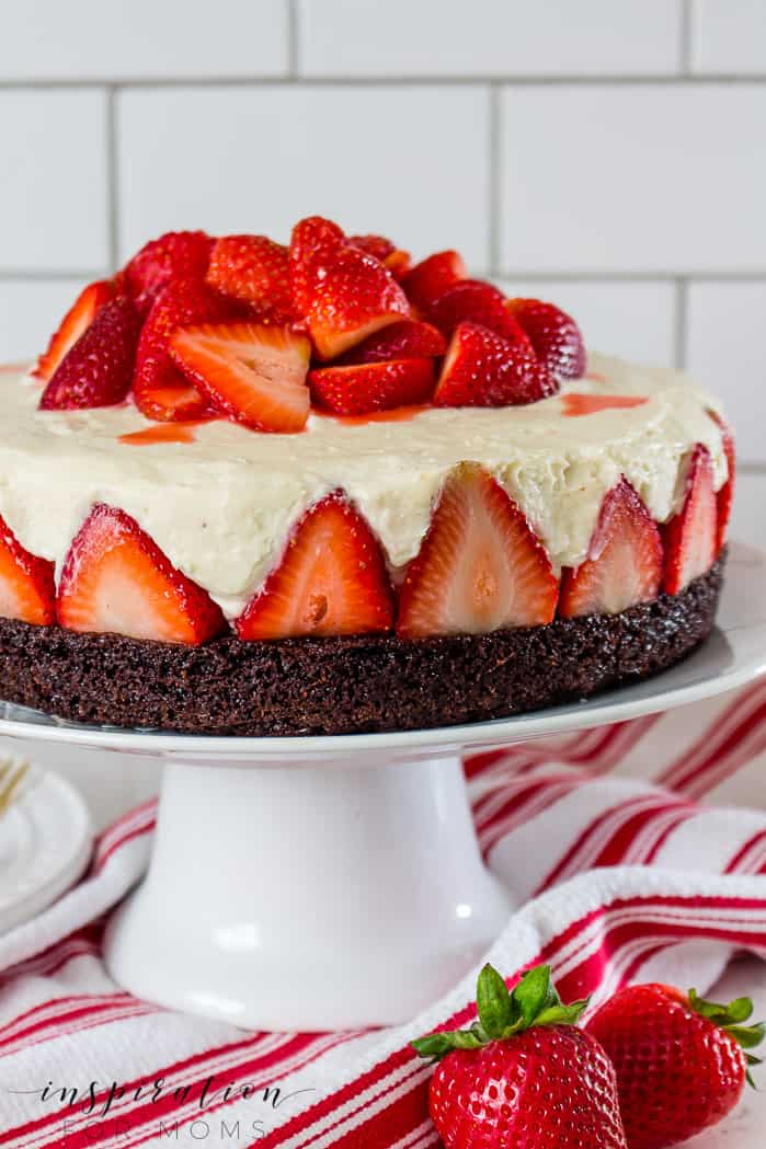 An impressive looking dessert but amazingly simple to make. This strawberry brownie cheesecake recipe is sure to be a family favorite!