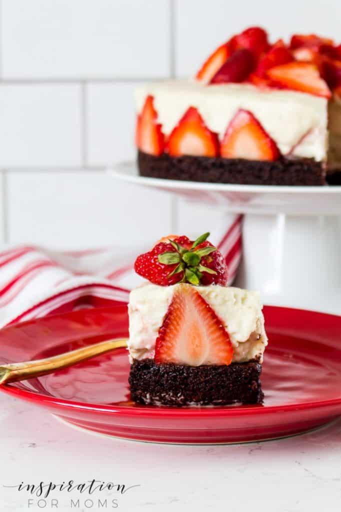 strawberry brownie cheesecake spring dessert