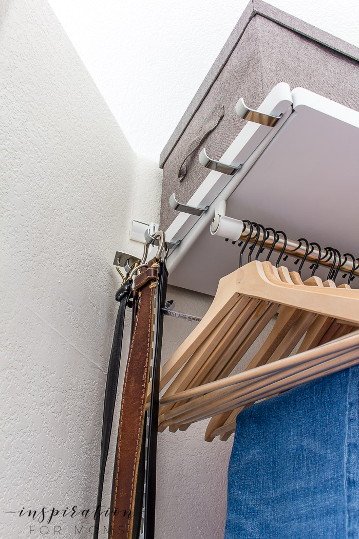 Squeeze in more items with my helpful tips and tricks on small closet organization -- hook bracket