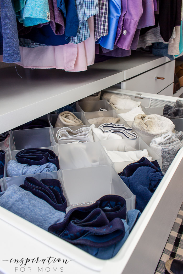 Squeeze in more items with my helpful tips and tricks on small closet organization -- drawer organizers