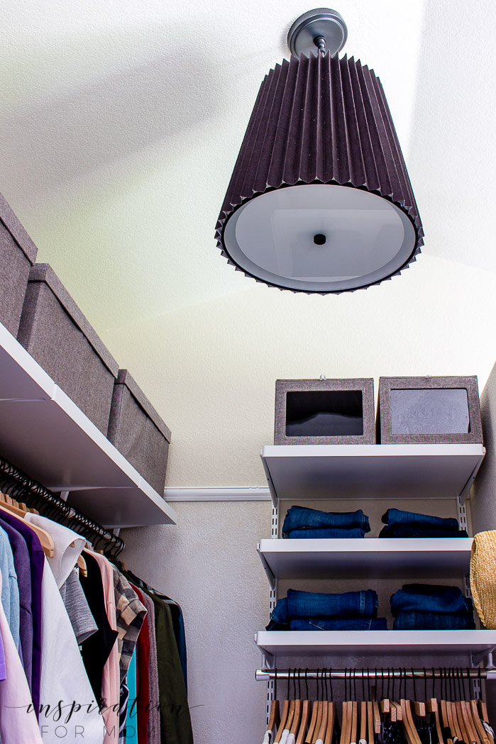 Squeeze in more items with my helpful tips and tricks on small closet organization -- black pendant light