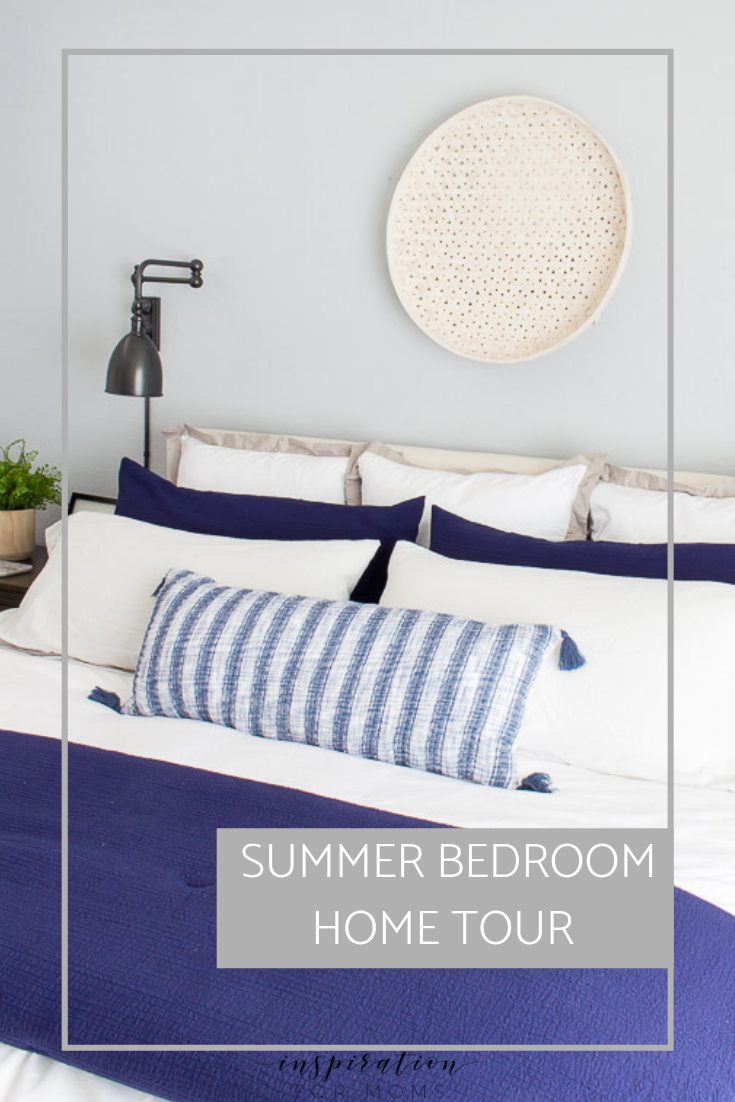 Welcome to the home tour of our summer bedroom. It's mostly neutral decor with just a touch of navy blue!Lots of summer decorating inspiration!