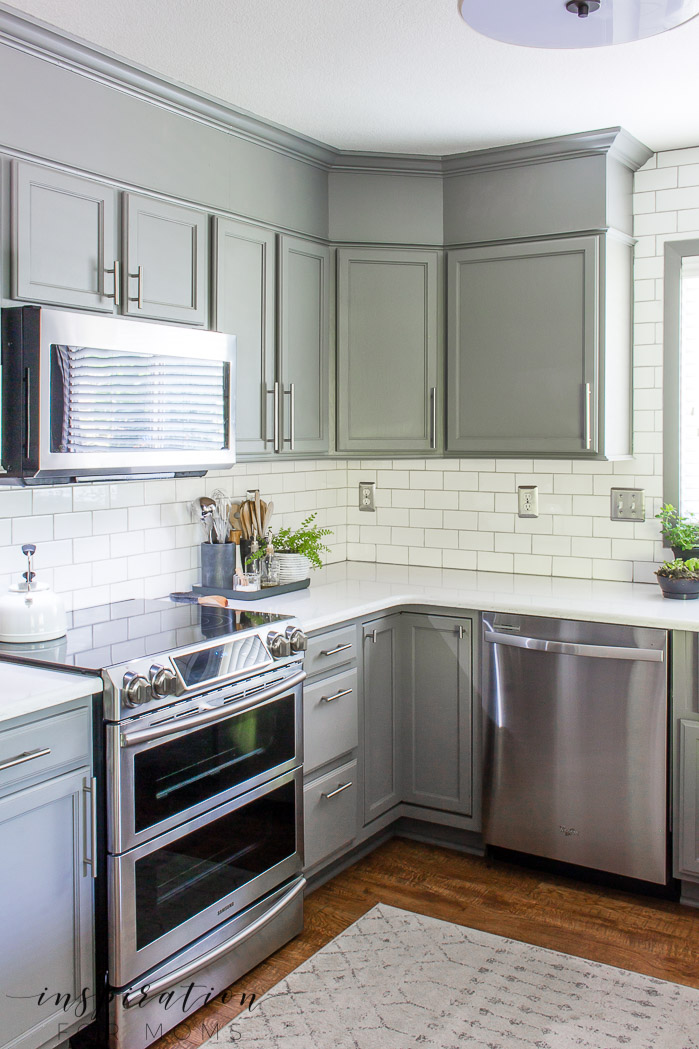 summer home tour kitchen with gray cabinets white subway tile
