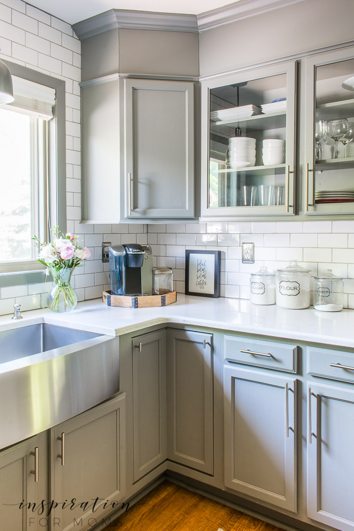 summer home tour kitchen with gray cabinets and peonies
