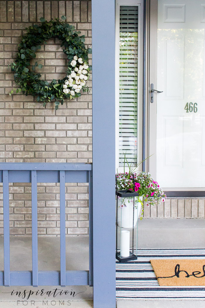 front door with eucalyptus wreath
