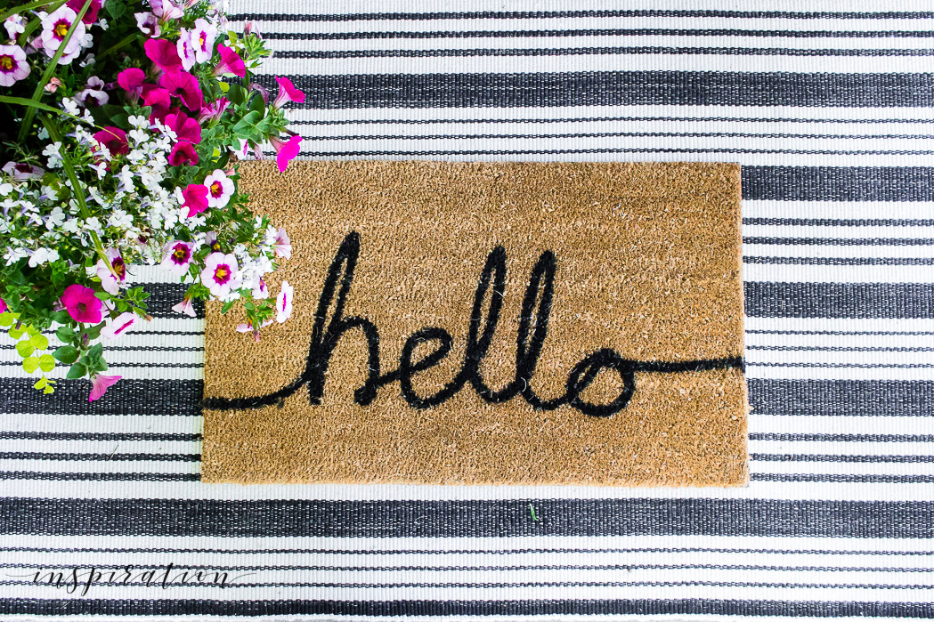 layered door rug and mat with summer flower pot