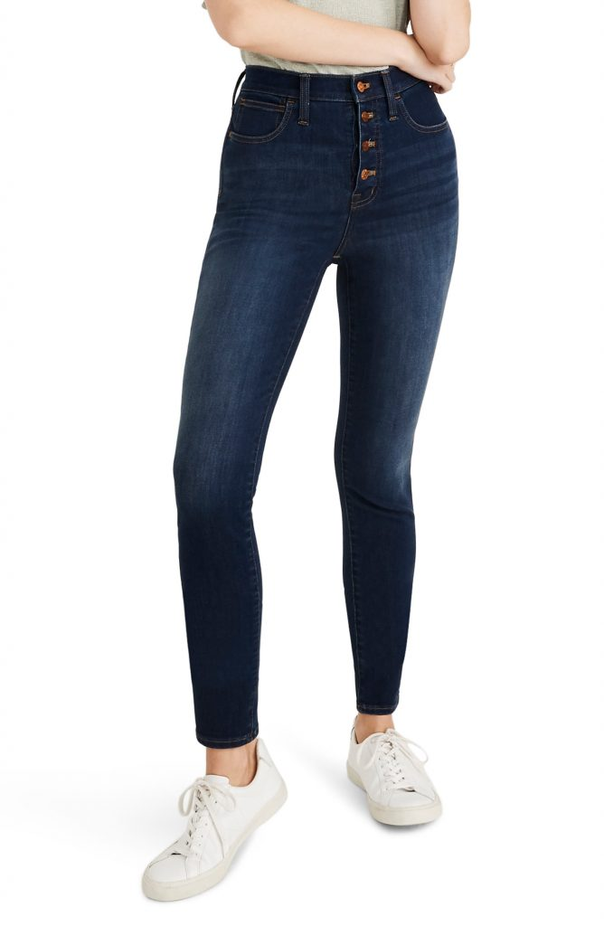 10-Inch High Waist Skinny Jeans: Button Front Edition