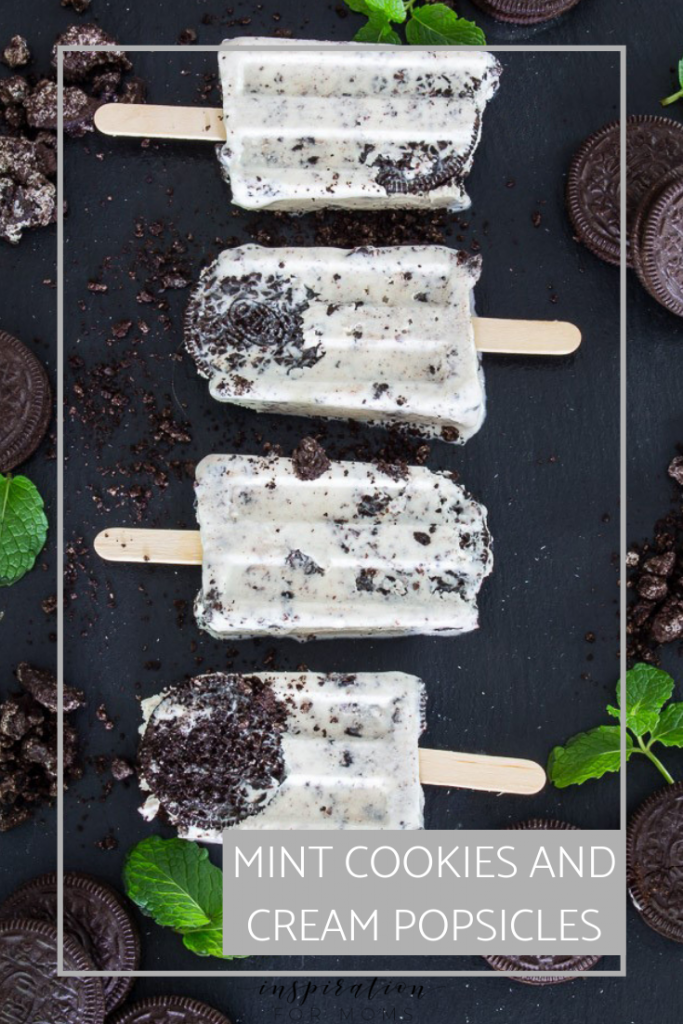 Summer is here! So dust off that Popsicle mold and start enjoying some sweet homemade treats like these Mint Cookies and Cream Popsicles!