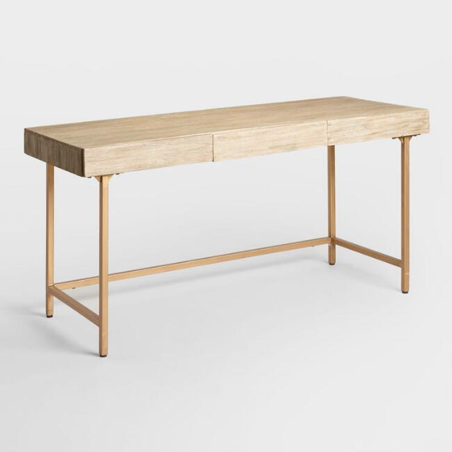 driftwood desk with gold legs