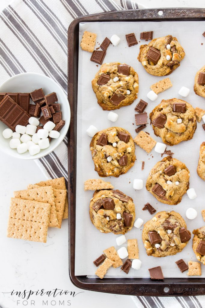 tray of s'mores cookies with chocolate, graham crackers. and marshmallows