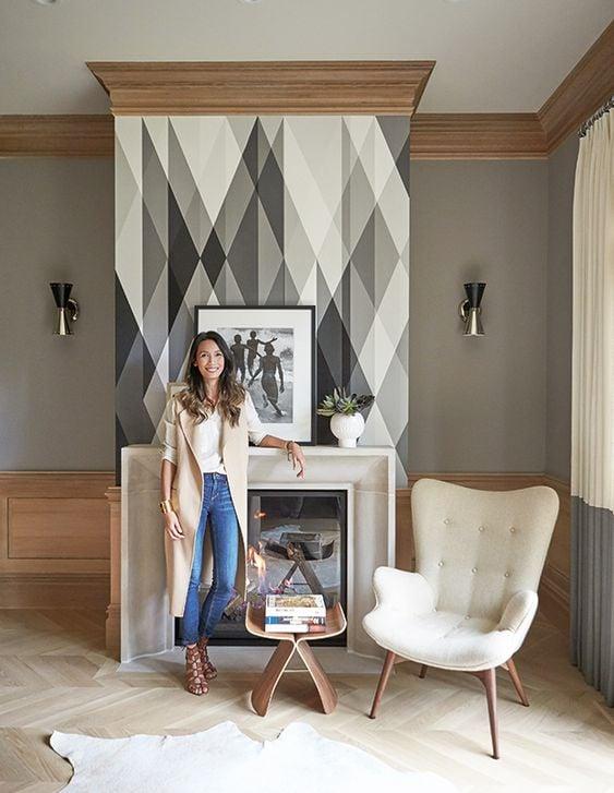 wallpaper fireplace focal point
