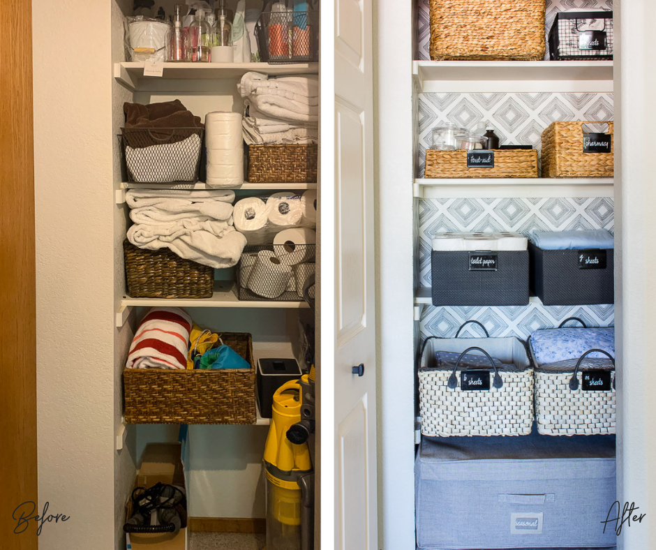 linen closet before and after