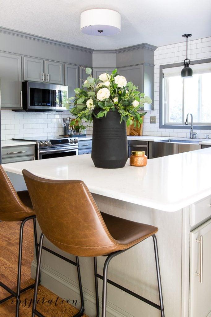 elegant eucalyptus fall centerpiece in kitchen