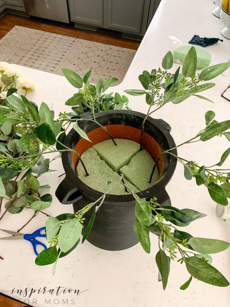eucalyptus fall centerpiece insert seeded eucalyptus into foam